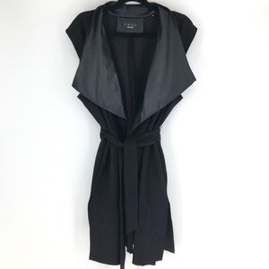 P Luca Milano Faux Leather & Suede Vest Coat